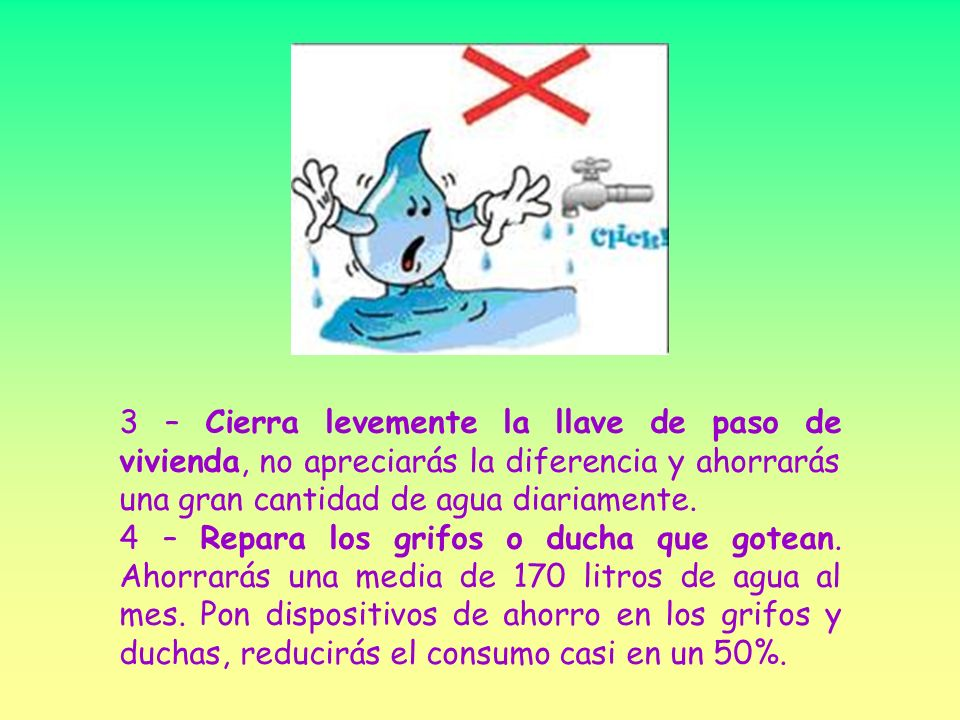 Formas para ahorrar agua ppt video online descargar for Llave de paso ducha
