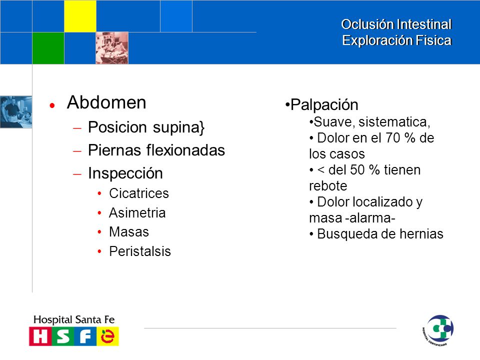 Oclusión Intestinal Exploración Fisica