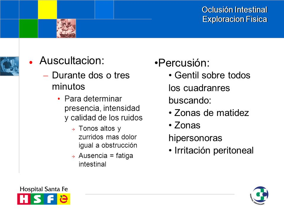 Oclusión Intestinal Exploracion Fisica