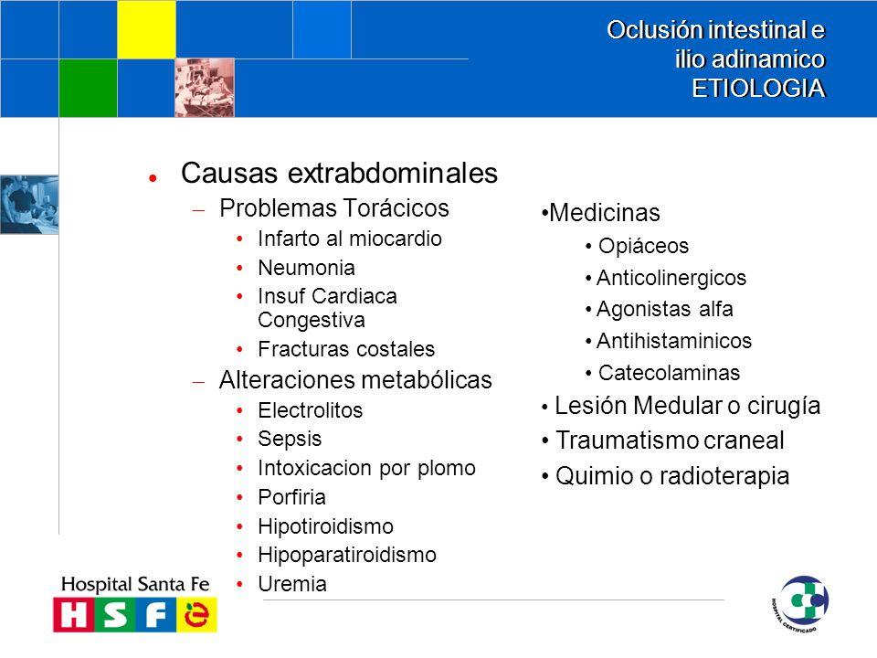 Oclusión intestinal e ilio adinamico ETIOLOGIA