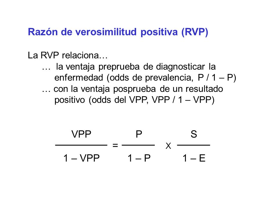 Razón de verosimilitud positiva (RVP)