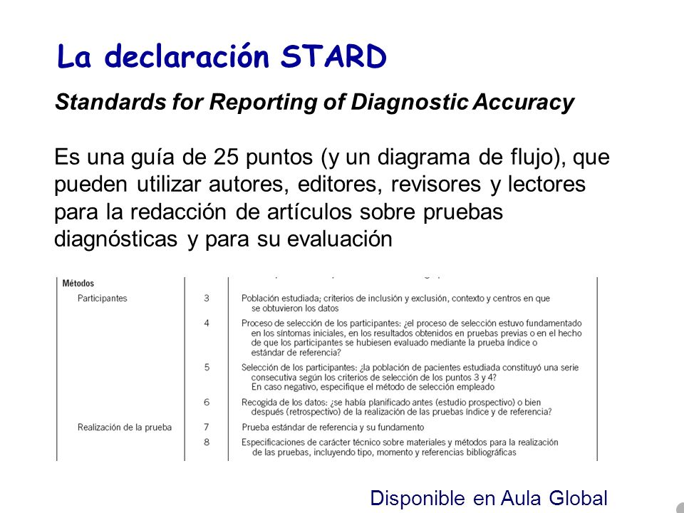 La declaración STARD Standards for Reporting of Diagnostic Accuracy