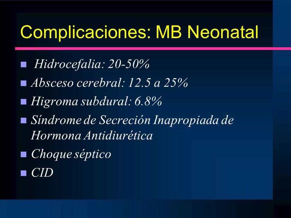 Complicaciones: MB Neonatal
