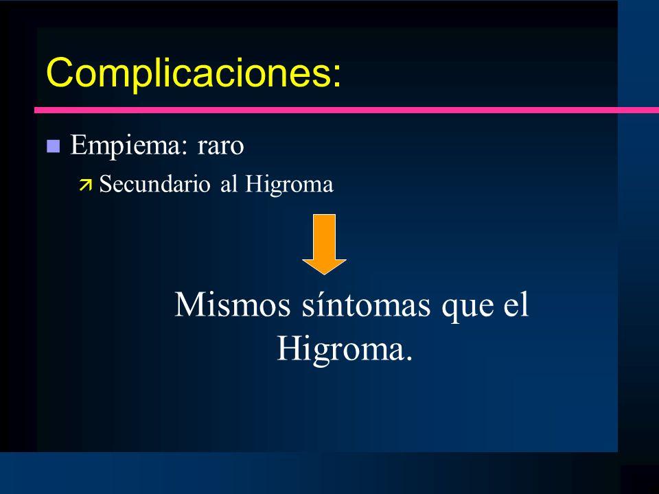 Mismos síntomas que el Higroma.