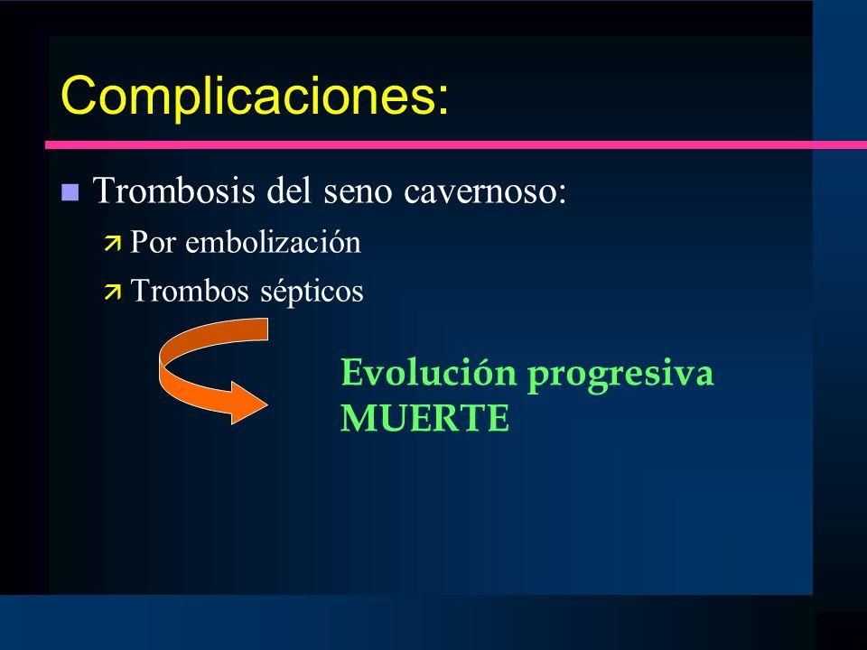 Complicaciones: Trombosis del seno cavernoso: Evolución progresiva