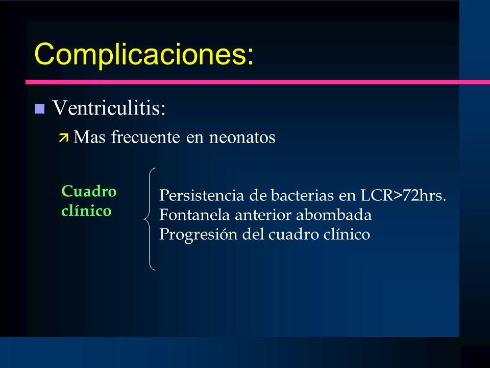 Complicaciones: Ventriculitis: Mas frecuente en neonatos Cuadro
