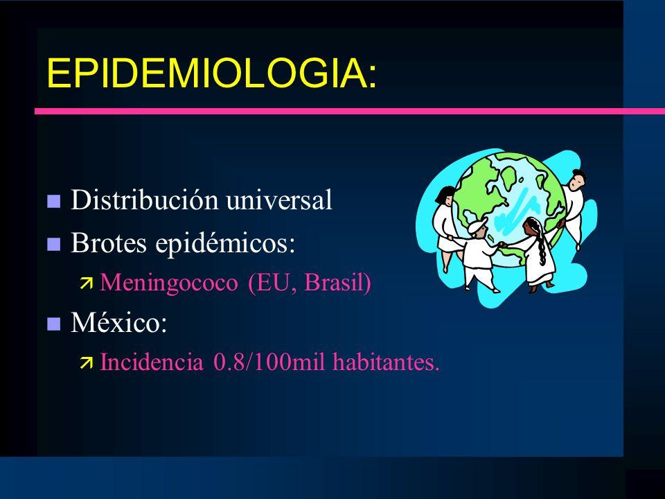 EPIDEMIOLOGIA: Distribución universal Brotes epidémicos: México: