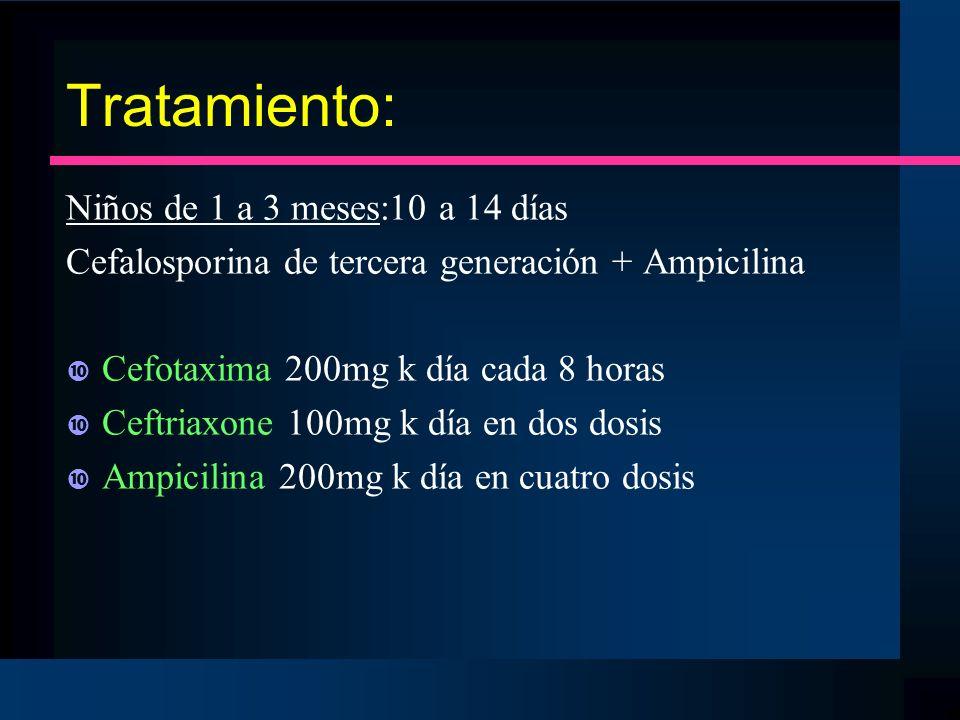 Tratamiento: Niños de 1 a 3 meses:10 a 14 días