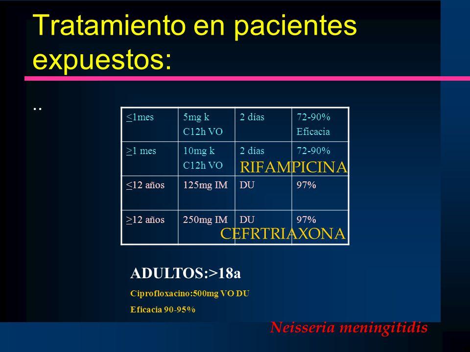 Tratamiento en pacientes expuestos:
