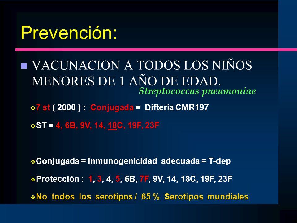 Prevención: VACUNACION A TODOS LOS NIÑOS MENORES DE 1 AÑO DE EDAD.