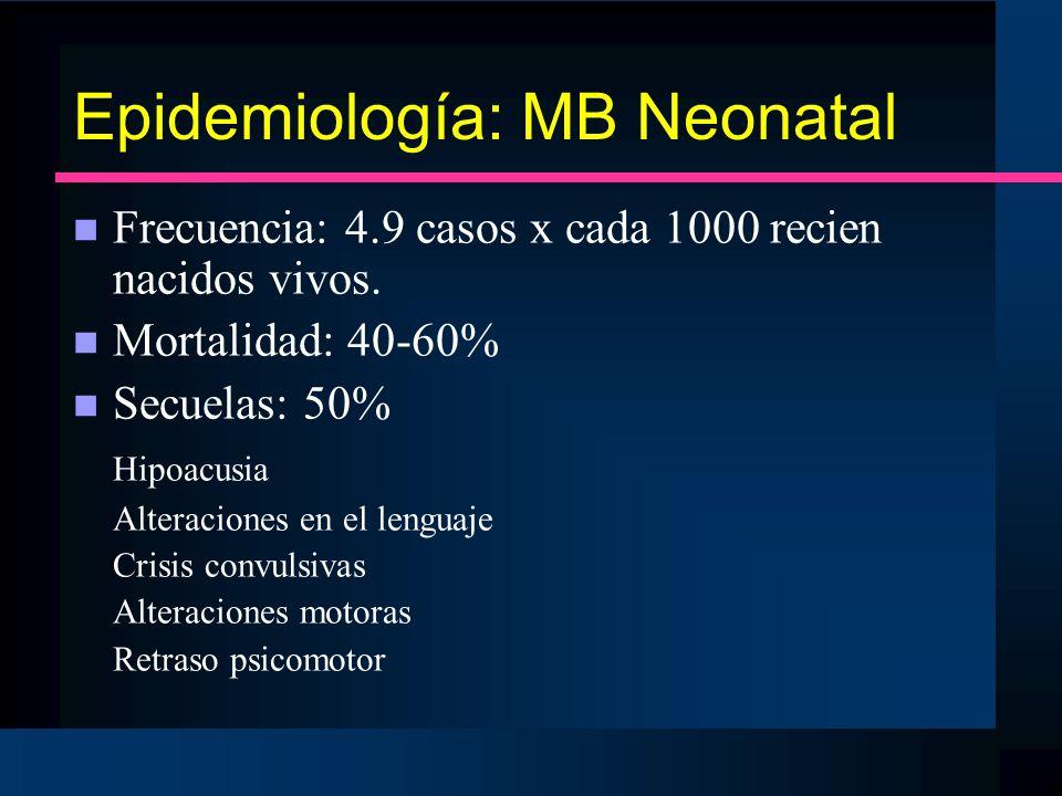 Epidemiología: MB Neonatal