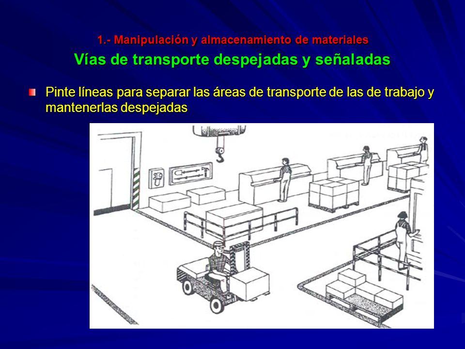 1.- Manipulación y almacenamiento de materiales Vías de transporte despejadas y señaladas