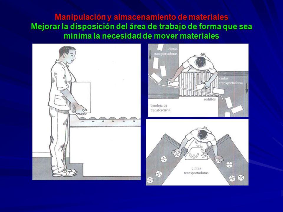 Manipulación y almacenamiento de materiales Mejorar la disposición del área de trabajo de forma que sea mínima la necesidad de mover materiales