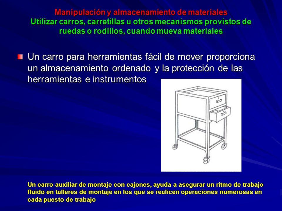 Manipulación y almacenamiento de materiales Utilizar carros, carretillas u otros mecanismos provistos de ruedas o rodillos, cuando mueva materiales