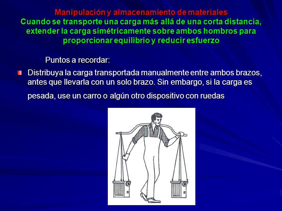 Manipulación y almacenamiento de materiales Cuando se transporte una carga más allá de una corta distancia, extender la carga simétricamente sobre ambos hombros para proporcionar equilibrio y reducir esfuerzo