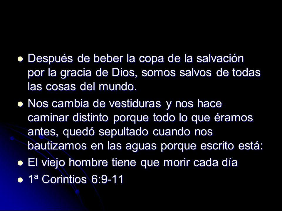 Después de beber la copa de la salvación por la gracia de Dios, somos salvos de todas las cosas del mundo.