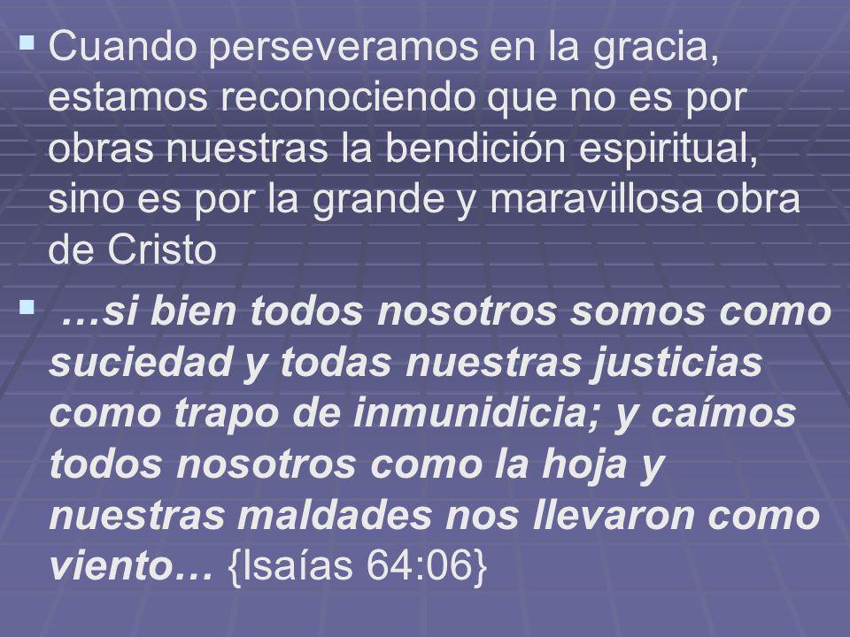 Cuando perseveramos en la gracia, estamos reconociendo que no es por obras nuestras la bendición espiritual, sino es por la grande y maravillosa obra de Cristo