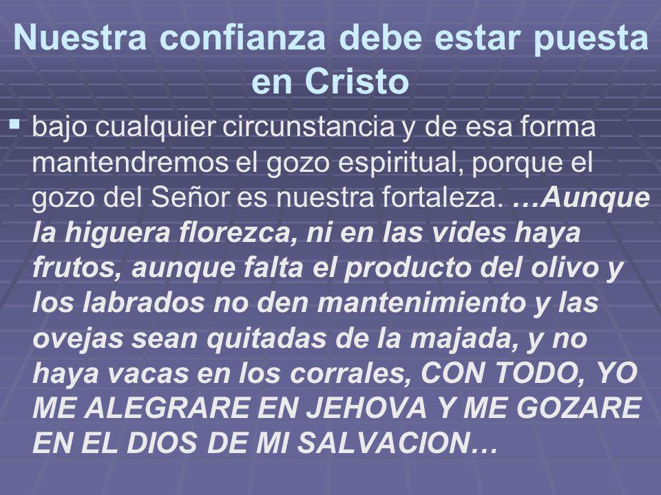 Nuestra confianza debe estar puesta en Cristo