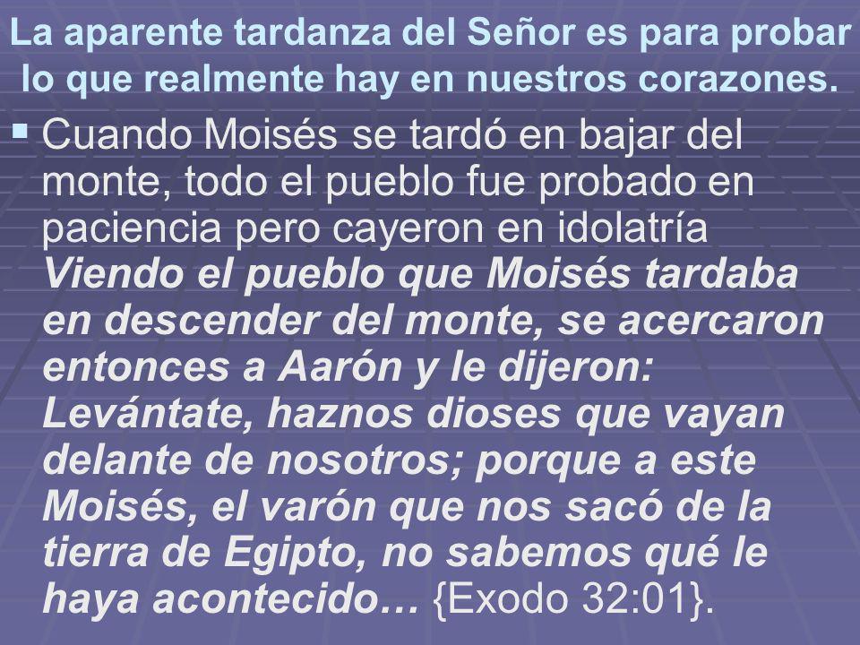 La aparente tardanza del Señor es para probar lo que realmente hay en nuestros corazones.