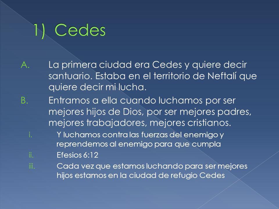 Cedes La primera ciudad era Cedes y quiere decir santuario. Estaba en el territorio de Neftalí que quiere decir mi lucha.