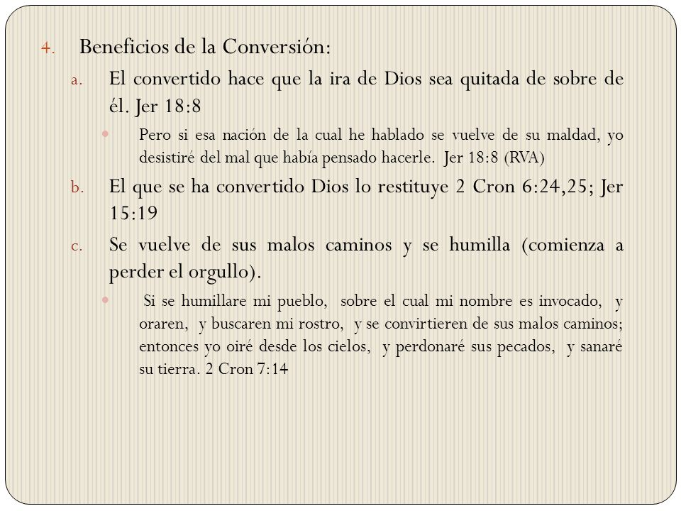 Beneficios de la Conversión: