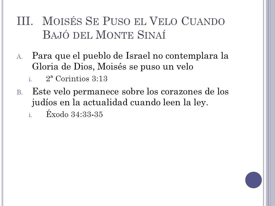 Moisés Se Puso el Velo Cuando Bajó del Monte Sinaí