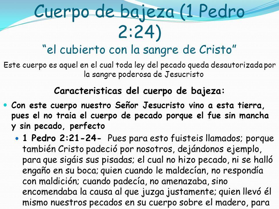 Cuerpo de bajeza (1 Pedro 2:24) el cubierto con la sangre de Cristo
