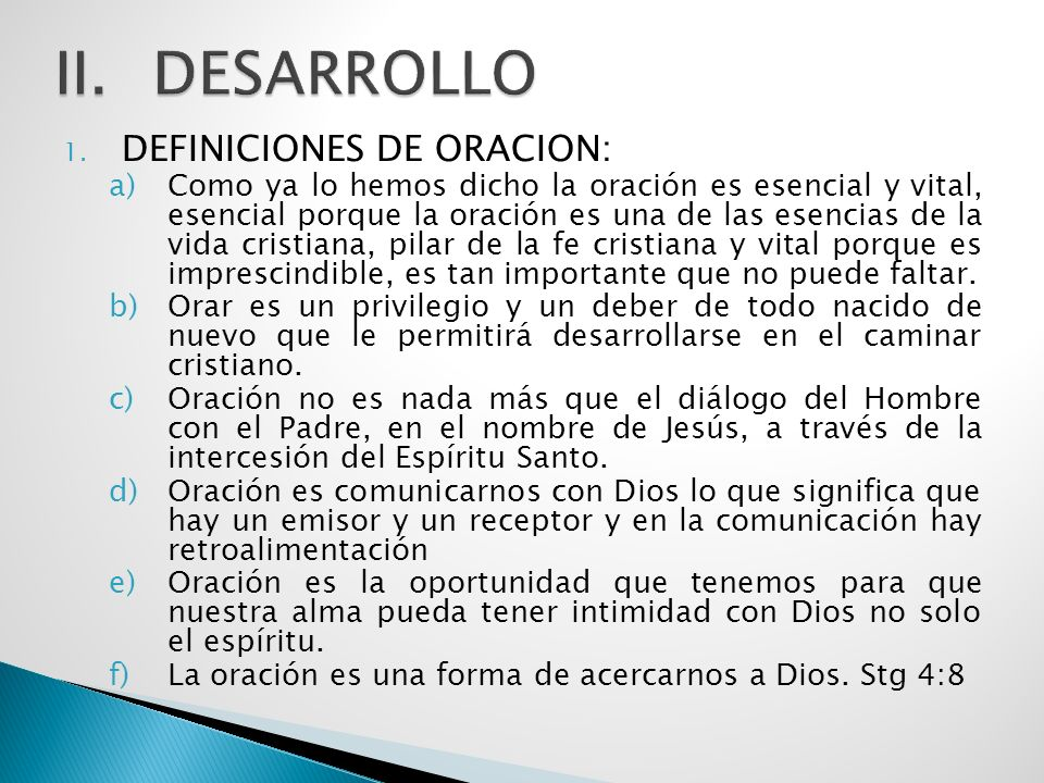 DESARROLLO DEFINICIONES DE ORACION: