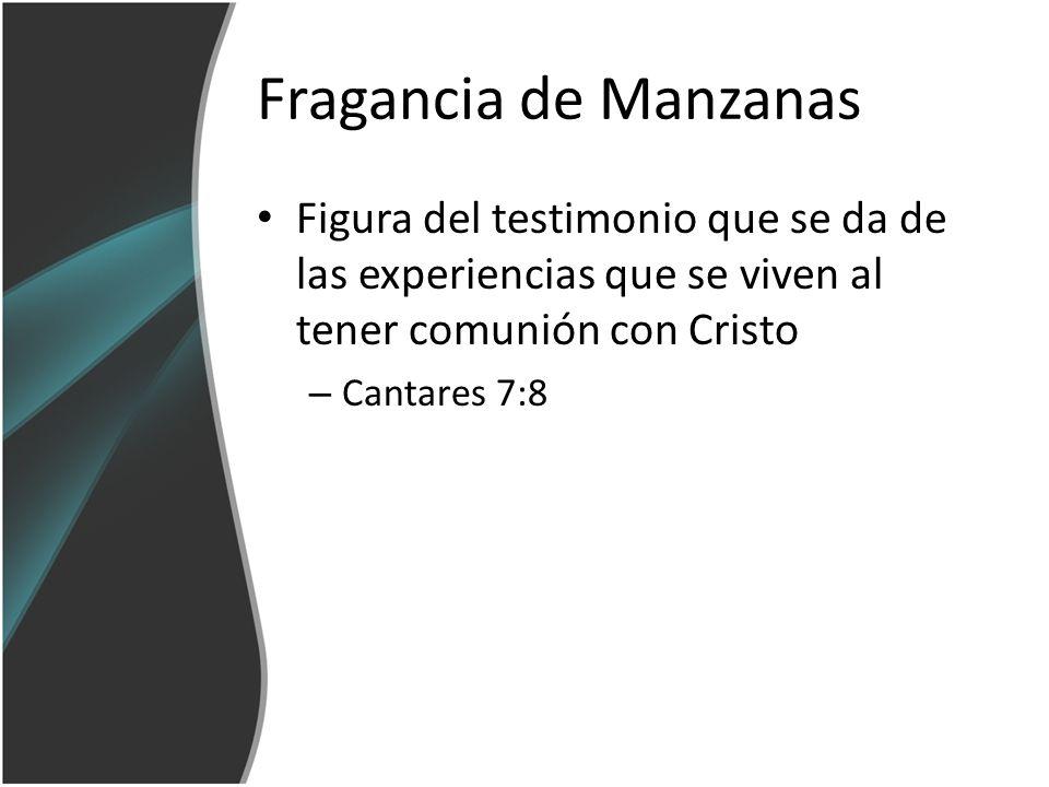 Fragancia de Manzanas Figura del testimonio que se da de las experiencias que se viven al tener comunión con Cristo.
