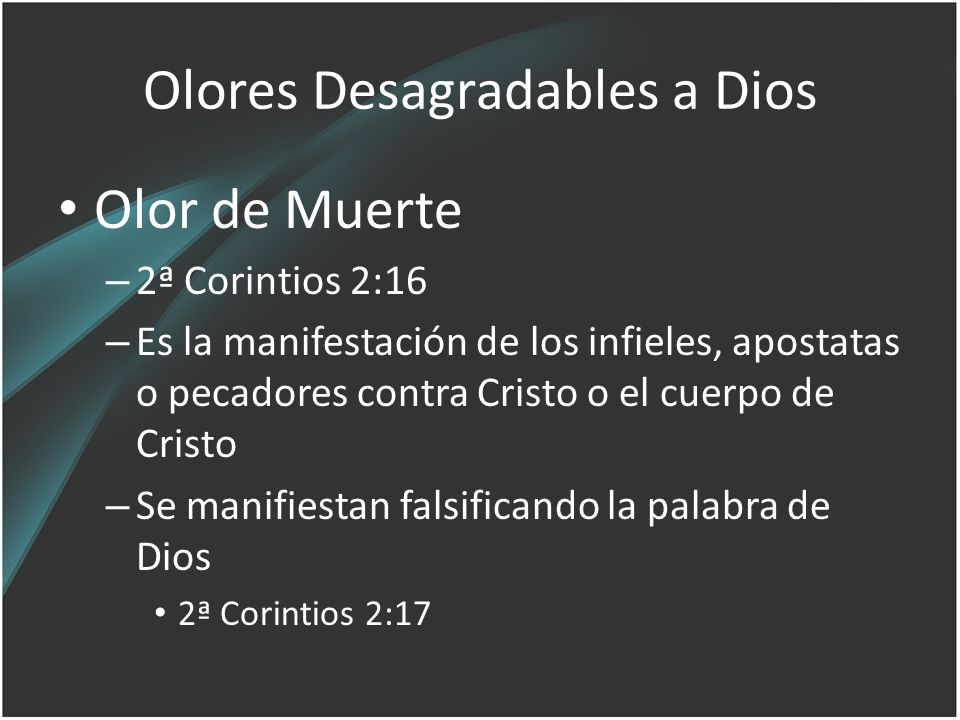Olores Desagradables a Dios