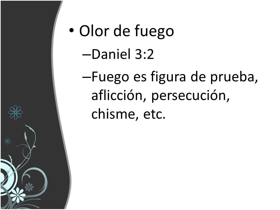 Olor de fuego Daniel 3:2 Fuego es figura de prueba, aflicción, persecución, chisme, etc.