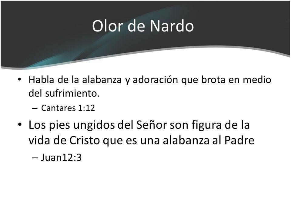 Olor de Nardo Habla de la alabanza y adoración que brota en medio del sufrimiento. Cantares 1:12.