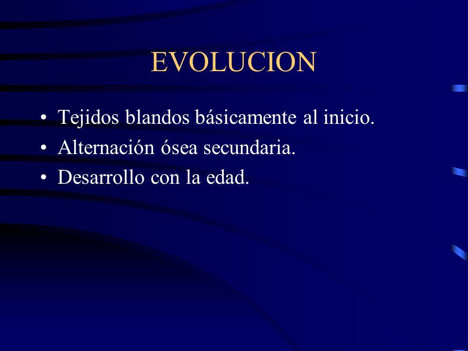EVOLUCION Tejidos blandos básicamente al inicio.