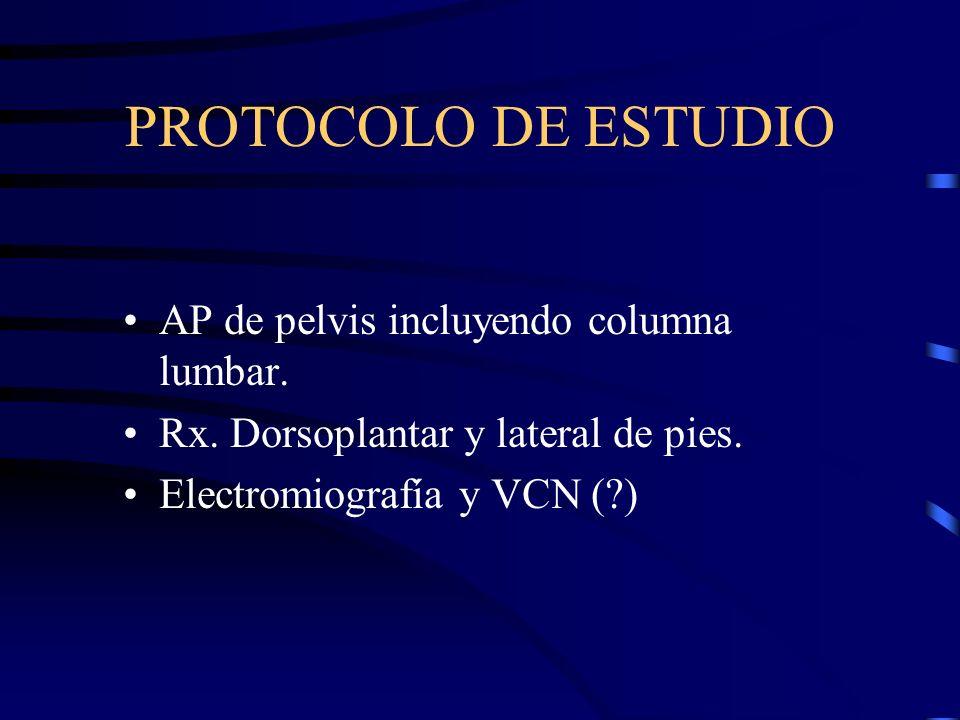 PROTOCOLO DE ESTUDIO AP de pelvis incluyendo columna lumbar.