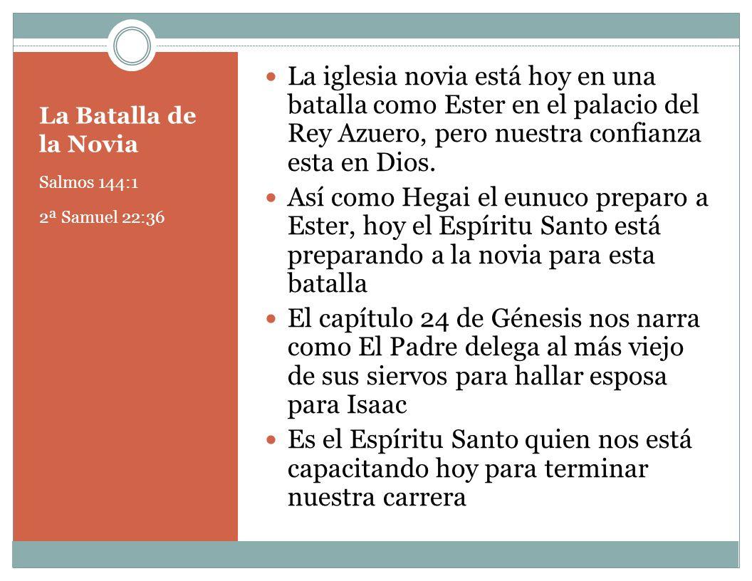 La iglesia novia está hoy en una batalla como Ester en el palacio del Rey Azuero, pero nuestra confianza esta en Dios.