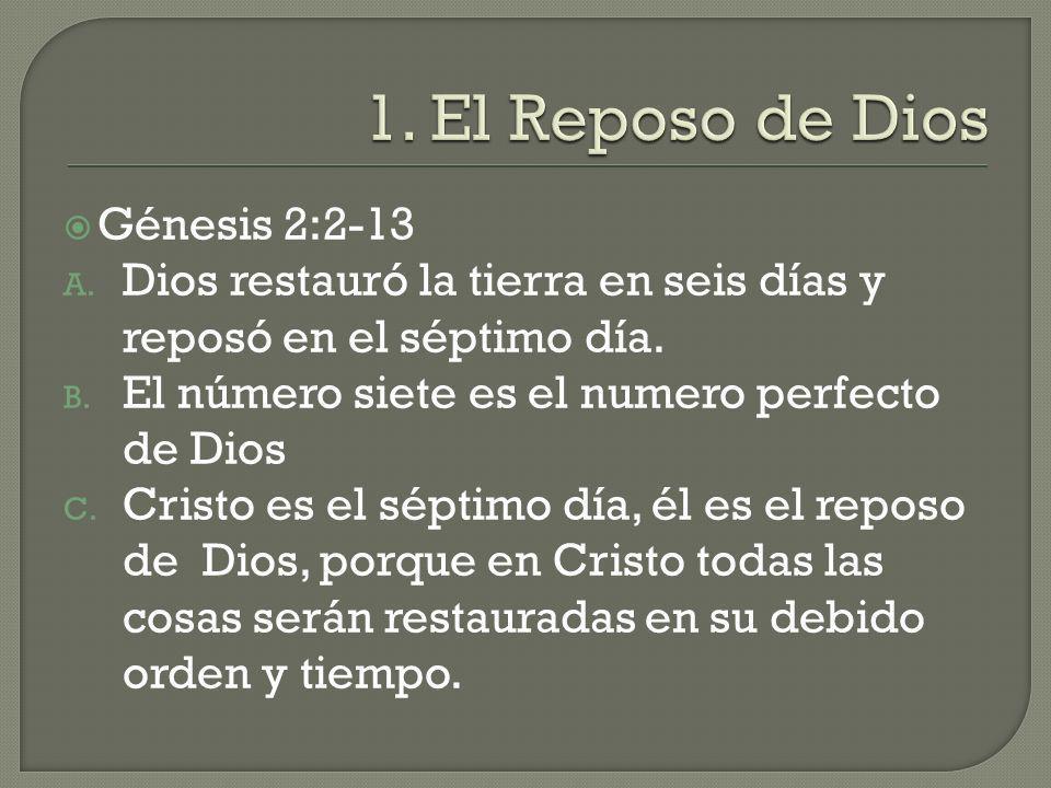 1. El Reposo de Dios Génesis 2:2-13