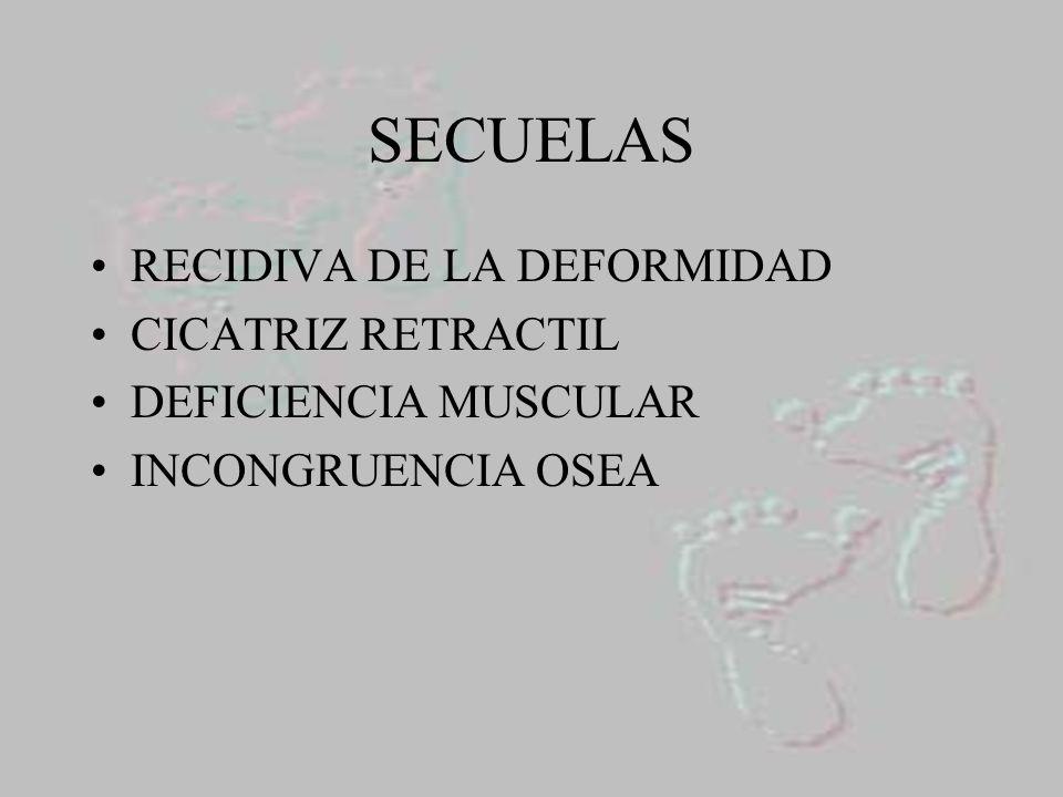 SECUELAS RECIDIVA DE LA DEFORMIDAD CICATRIZ RETRACTIL