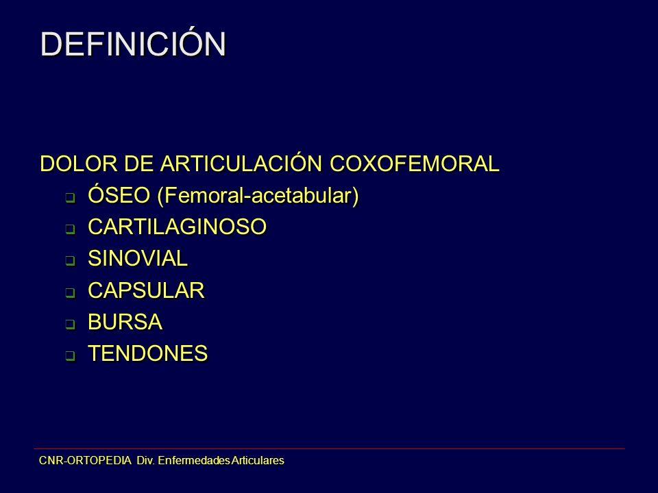 DEFINICIÓN DOLOR DE ARTICULACIÓN COXOFEMORAL ÓSEO (Femoral-acetabular)