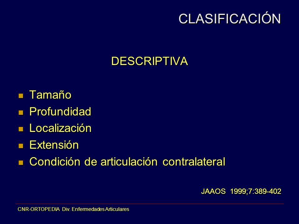 CLASIFICACIÓN DESCRIPTIVA Tamaño Profundidad Localización Extensión