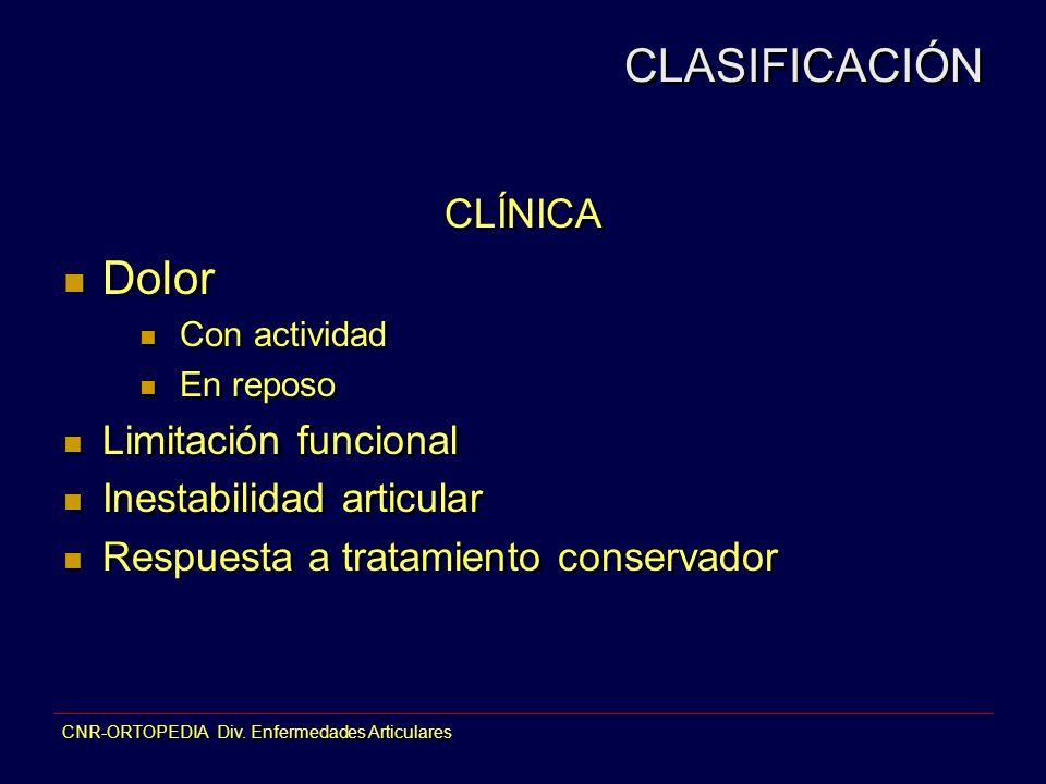 CLASIFICACIÓN Dolor CLÍNICA Limitación funcional