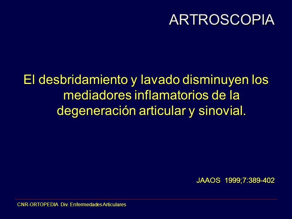 ARTROSCOPIA El desbridamiento y lavado disminuyen los mediadores inflamatorios de la degeneración articular y sinovial.