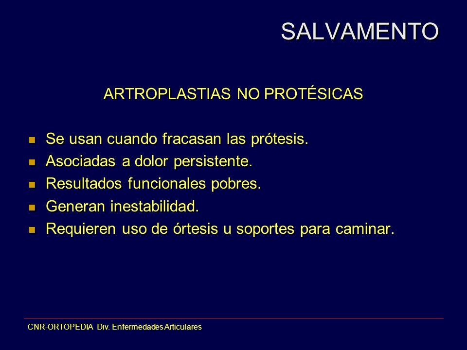 ARTROPLASTIAS NO PROTÉSICAS