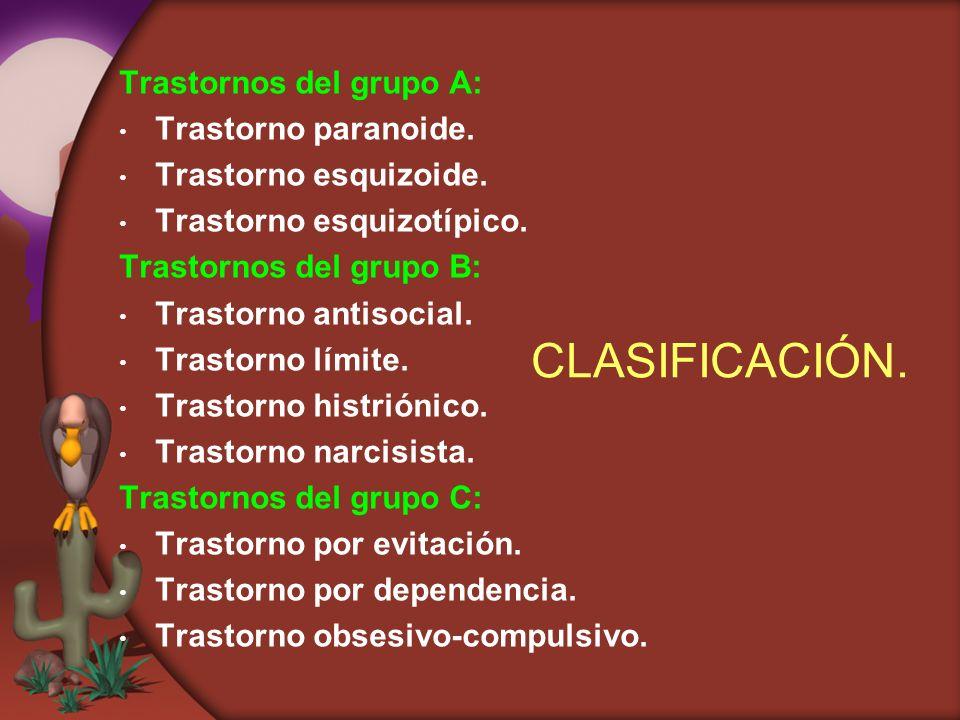 CLASIFICACIÓN. Trastornos del grupo A: Trastorno paranoide.