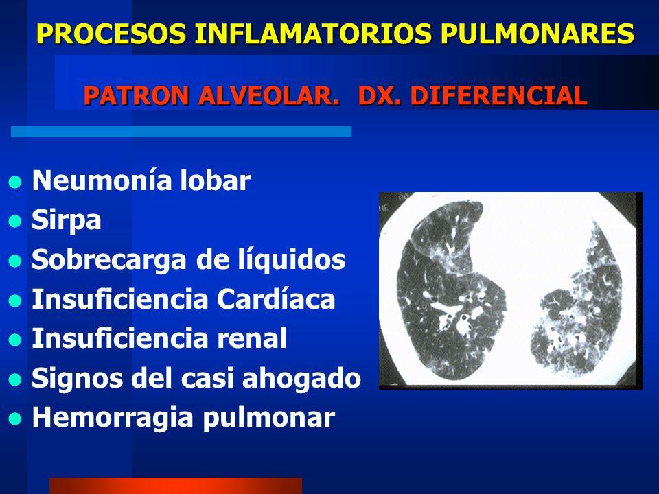 PROCESOS INFLAMATORIOS PULMONARES PATRON ALVEOLAR. DX. DIFERENCIAL