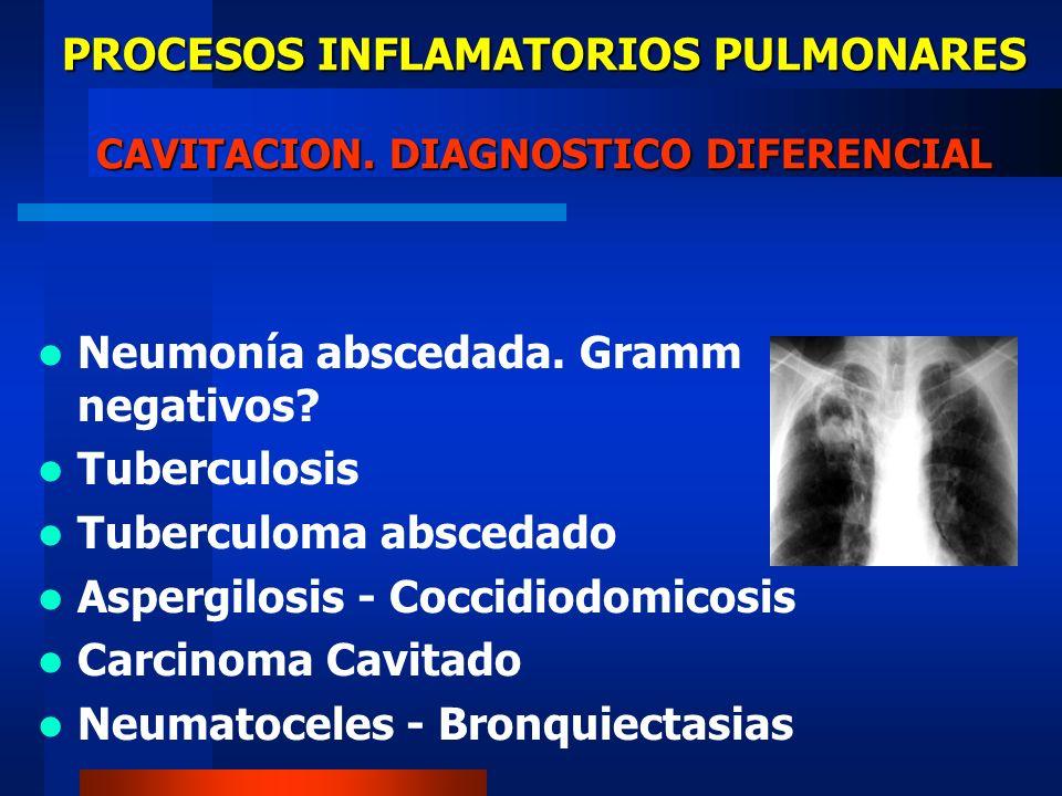 PROCESOS INFLAMATORIOS PULMONARES CAVITACION. DIAGNOSTICO DIFERENCIAL