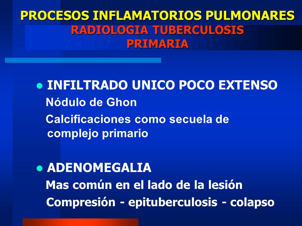PROCESOS INFLAMATORIOS PULMONARES RADIOLOGIA TUBERCULOSIS PRIMARIA