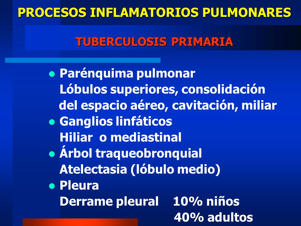 PROCESOS INFLAMATORIOS PULMONARES TUBERCULOSIS PRIMARIA