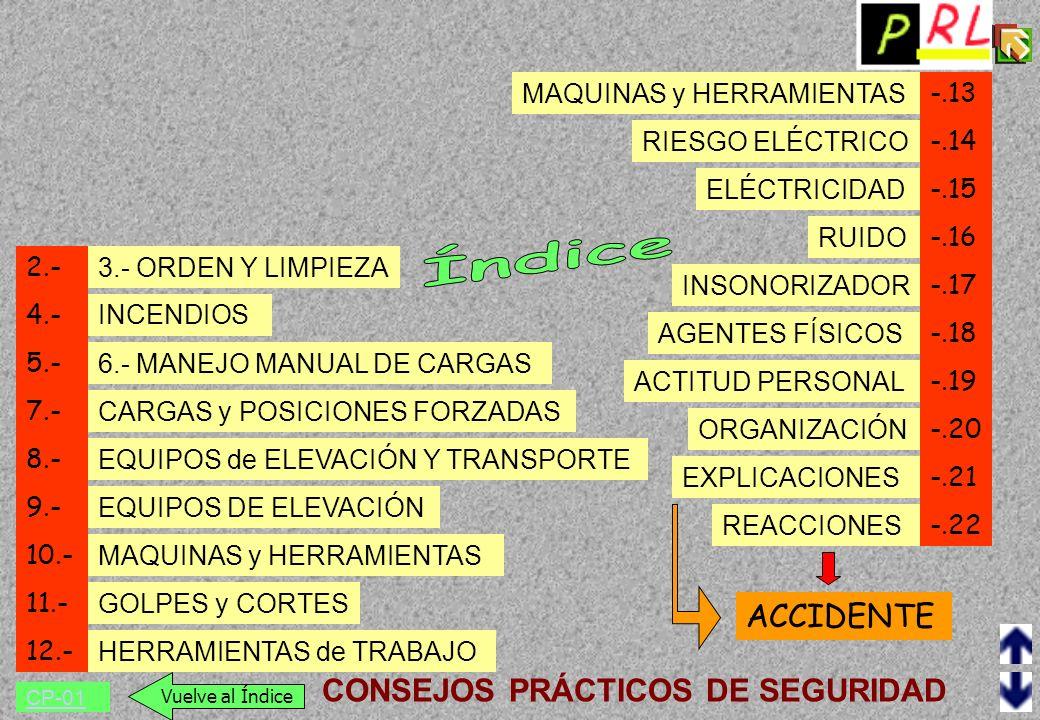 Índice ACCIDENTE CONSEJOS PRÁCTICOS DE SEGURIDAD