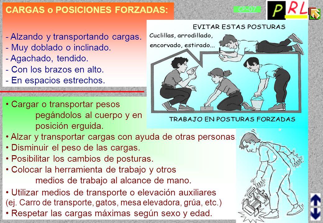 CARGAS o POSICIONES FORZADAS: - Alzando y transportando cargas.