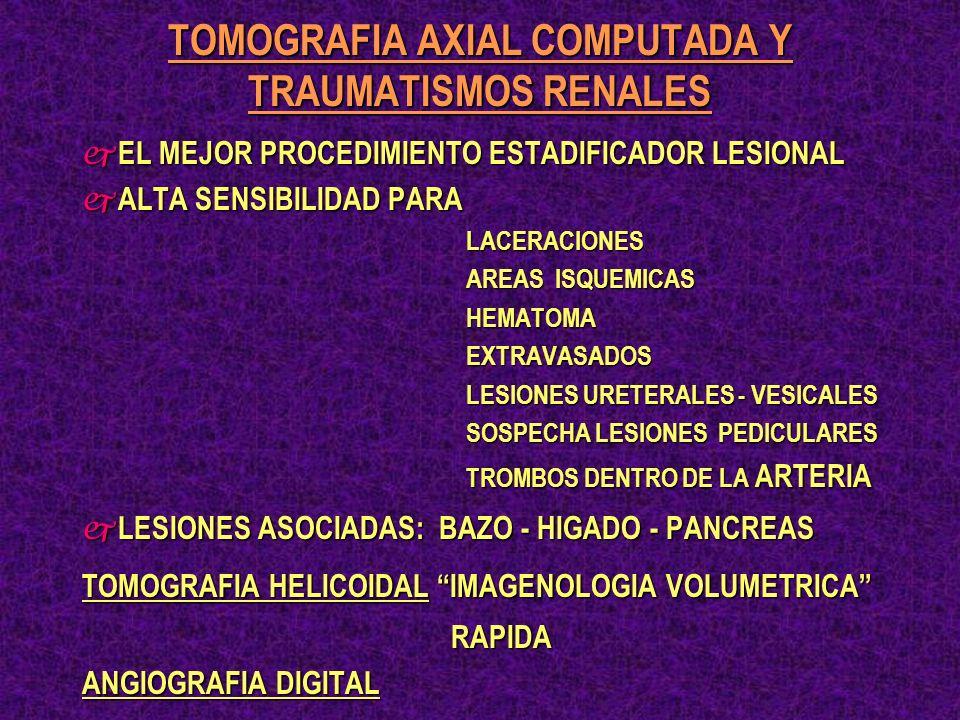 TOMOGRAFIA AXIAL COMPUTADA Y TRAUMATISMOS RENALES